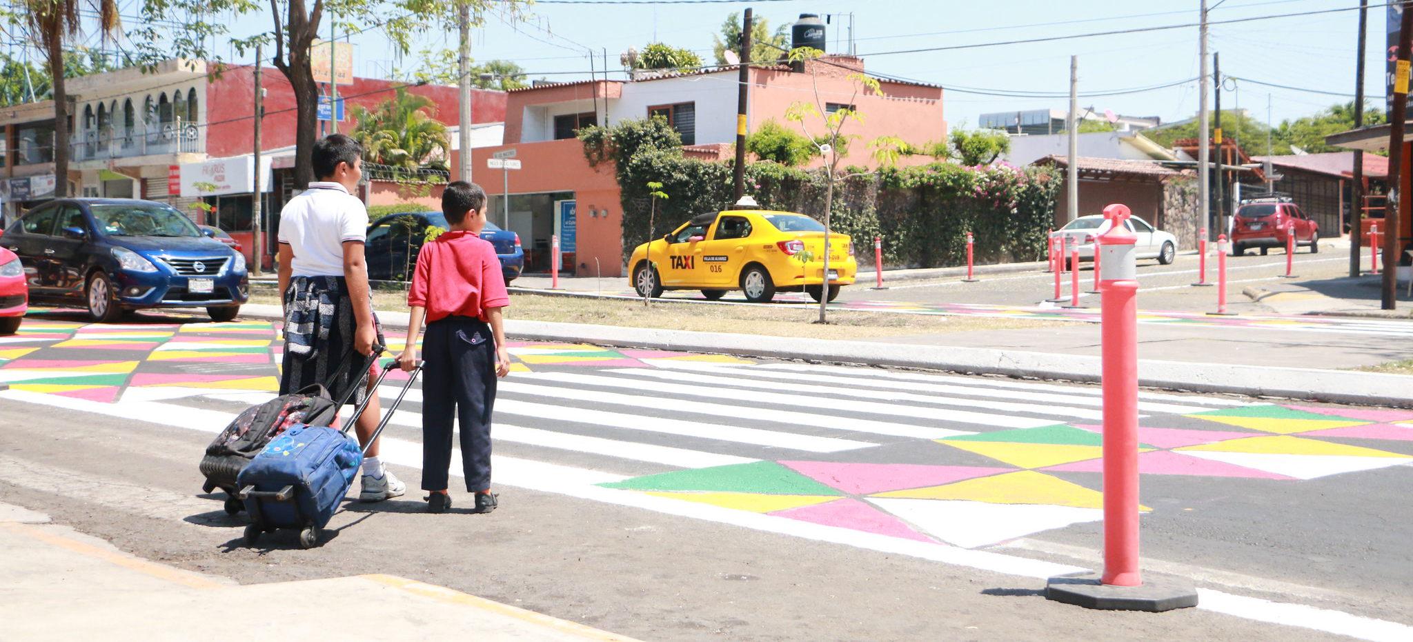 Children crossing the street in Colima, Mexico.