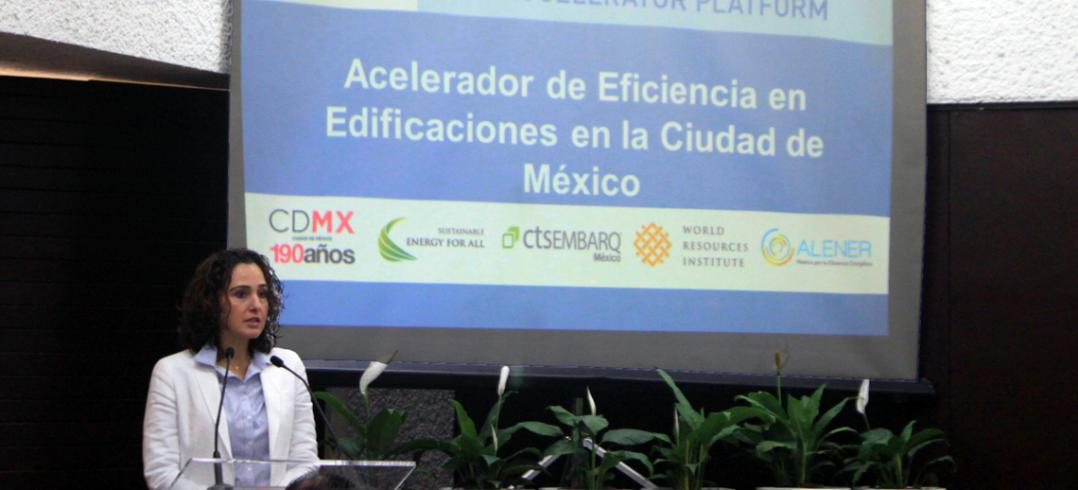 Tanya Müller, SEDEMA presents at the launch of the Building Efficiency Accelerator in Mexico City